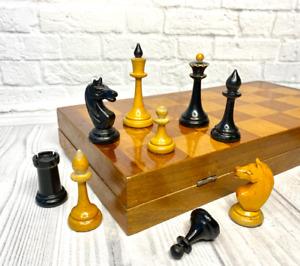 Tournament Wooden Chess USSR Full Set Grossmeister Vintage Soviet 42X42cm,