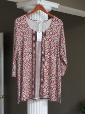 ROSE & OLIVE Cayenne Off-White Black Scoop Neck 3/4 Sleeve Tunic Top Sz 1X NWT