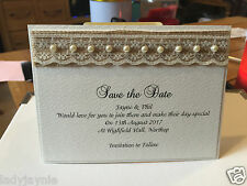 Save the Date - Pack of 50 - Rustic Hessian with Lace & Pearls