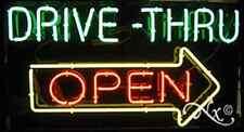 "BRAND NEW ""DRIVE-THRU OPEN"" 37x20 W/ARROW REAL NEON SIGN w/CUSTOM OPTIONS 10401"