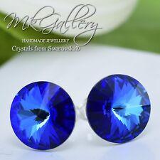 925 Silver Earrings Studs12mm Aquamarine Bermuda Blue Crystals from Swarovski®