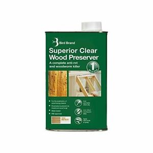 Bird Brand Superior Clear Wood Preserver Anti-Rot Fungal Woodworm Killer 1 Litre