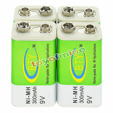 4x 9V 9 Volt 300mAh BTY Green Ni-Mh Rechargeable Battery