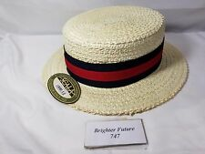 NEW! SCALA Straw Boater Hat Bleach. Free Shipping! MS369. Medium Free Shipping!