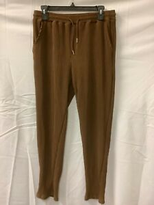 Mens Chocolate Slim Fit Pleated Crop Drawstring Activewear Trouser Pants Size M