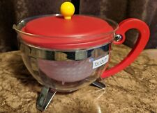 Bodum Chambord Tea Pot Red Handle & Lid Yellow Ball Finial Handle Excellent Cond