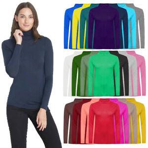 LADIES WOMENS POLO NECK TOP STRETCH LONG SLEEVE TURTLE NECK TOP JUMPER UK 8-26..