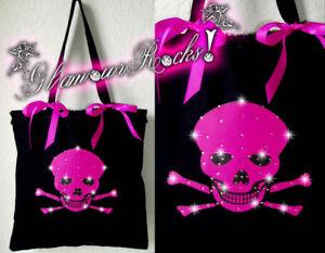 Skull Skeleton Pink Glamourous Rhinestone Crystal  Tote Bag Purse Book Bag