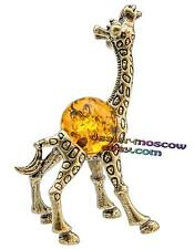 Bronze Solid Brass Baltic Amber Figurine Family of Giraffes - Child IronWork
