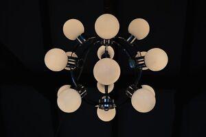 VTG Atomic Age STARBURST CHANDELIER Sputnik Opal  GLASS Shades 1960s Modernism