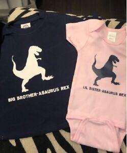 Matching sibling dinosaur shirt set t-rex brother and sister shirt t-rex t-shirt