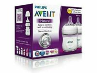 Philips Avent Natural Feeding 2 x 125mL Bottles Nat Lactation No BPA Anti Colic