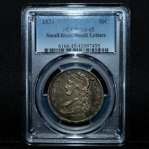 1834 CAPPED BUST HALF DOLLAR ✪ PCGS XF-45 ✪ 50C EXTRA FINE SMALL DATE ◢TRUSTED◣