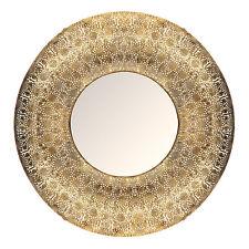 Moroccan Gold Arabesque Large Round Metal Statement Mirror Rare 78cm