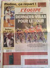 L'Equipe Journal 31/5/2000; Pioline, ça repart/ Dernier visas pour le Tour de Fr