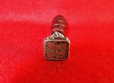 "Antique 19th Century Italian Silver & Carved Wood ""Nenè"" Wax Seal Stamp"