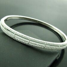BANGLE BRACELET GENUINE REAL 925 SOLID  STERLING SILVER DIAMOND SIMULATED DESIGN