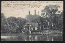 Postcard Dusseldorf GERMANY Schwanenspiegel Mit Fischerhaus view 1911
