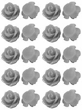 Resin Flower Cabochons 20 Petite Silver Chevvy Roses Retro 7.5mm x 6mm