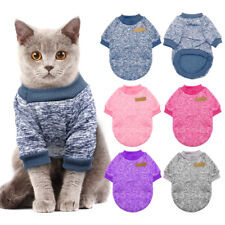 Cat Christmas Sweater Puppy Dog Knitted Fleece Jumper Clothes Pink Blue Purple