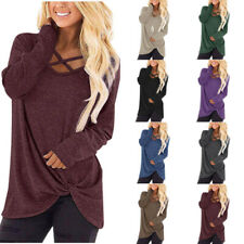 Womens Casual T Shirt Long Sleeve V Neck Tops Loose Blouse Cross Kink Tunic