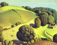 Young Corn by Grant Wood - Fields Trees Farm Work House 8x10 Print Picture 1788