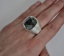 John Hardy Batu Bedeg Large Square Green Amethyst Ring in Sterling Silver Size 7