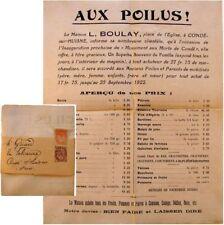Courrier publicité 1922 Aux poilus Boulay Condé-sur-Huisne inauguration monument