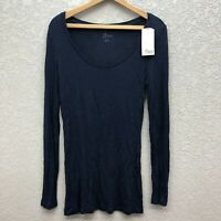 NWT 4 Paix Tee Top  Women's M Black Light Knit Boat Neck Long Sleeve Casual