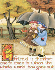 Friend First To Come In Umbrella-Handcrafted Fall Magnet-w/Mary Engelbreit art
