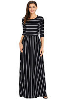 Women Striped 3/4 Long Sleeves Front Side Pockets Casual Floor Length Maxi Dress