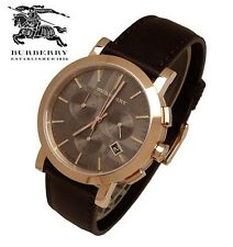 100% New Burberry Men's BU1863 Herringbone Brown Leather Strap Watch ON SALE NOW