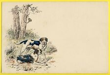 cpa Illustration signée P. MAHLER Chasse à Courre COR de CHASSE CHIENS BRAQUES