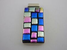 Stunning Large & Unusual Mexican Sterling silver Art Glass Pendant 10.9 Grams