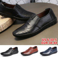 Men's Genuine Leather Casual Slip On Loafer Canvas Moccasins Driving Boat Shoes