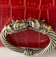 Signed Leering  Sterling Silver 18k YGold 2 Cat Head Cable Cuff Bracelet  Rare