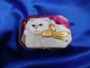 Limoges France Peint Main Signed Rochard Studion Cat Hinged Trinket Box V/Rare