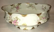 Theo Theodore Haviland Sch 144 Pink Roses Green Scrolls - LG Salad Serving Bowl