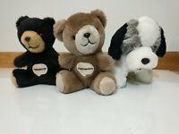 VTG Pharmaceutical Advertising Plush Lot Bull Dog & 2 Teddy Bear KOREA Trudy Toy