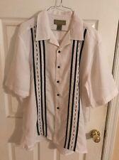 Cabana Men's XL White & Black Island Dress Shirt