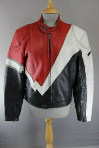 SUPERB EUROX CLASSIC BLACK, RED & WHITE LEATHER BIKER JACKET 40 INCH