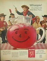 Lot of 3 Vintage 1964 KOOL-AID Drink Mix Print Ads Whoopie Wild West Party
