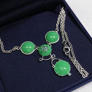 neuwertiges ungetragenes CK Smaragdcollier 925 Silber, 42 cm, 12,4 g