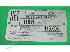 TARGHETTA IDENTIFICATIVA FIAT 1500 CABRIOLET (tipo 118H)