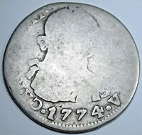 1774 JR Spanish Bolivia 2 Reales Piece of 8 Real Colonial Two Bits Treasure Coin