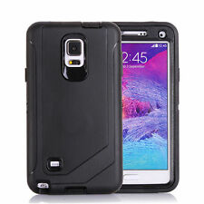For Samsung Galaxy Note 4 Defender Outer Case Protective Cover w/Clip Black