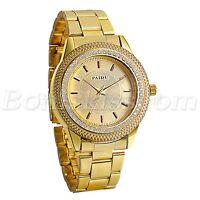 Mens Luxury Gold Tone Stainless Steel Strap Rhinestone Quartz Analog Wrist Watch