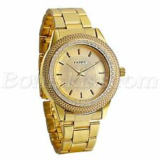 Mens Luxury Gold Tone Stainless Steel Strap Rhinestone Quartz Analog Wrist Watch