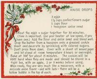 VINTAGE CHRISTMAS ANISE SEED DROPS COOKIES RECIPE 1 SHEEP HORSE SLEIGH TREE CARD
