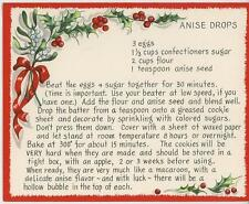 VINTAGE CHRISTMAS ANISE SEED DROPS COOKIES RECIPE 1 WINTER GARDEN SQUIRREL CARD